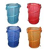 Belle Vous 4 stck Wäschekorb - Faltbare Wäschesammler Körbe Netz Wäschekörbe mit Tragegriffen - Wäschebeutel - Wäschetasche - Wäschesack - Wäschebehälter im Hellblaue, Blaue, Orange und Rote Farben