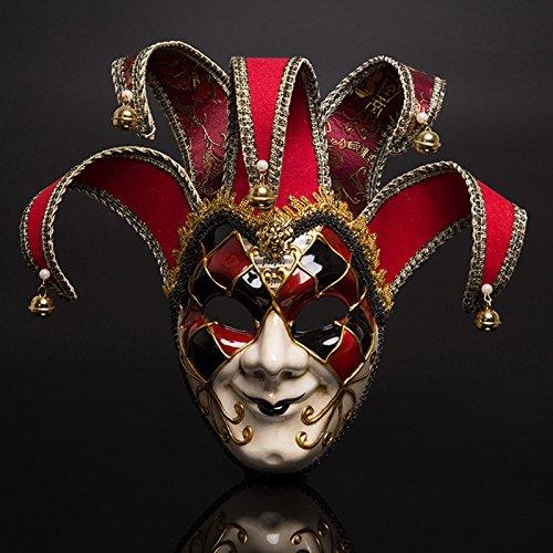 Fronte sorridente della maschera del teatro di carnevale di venezia rosso e blu a due colori (rosso)