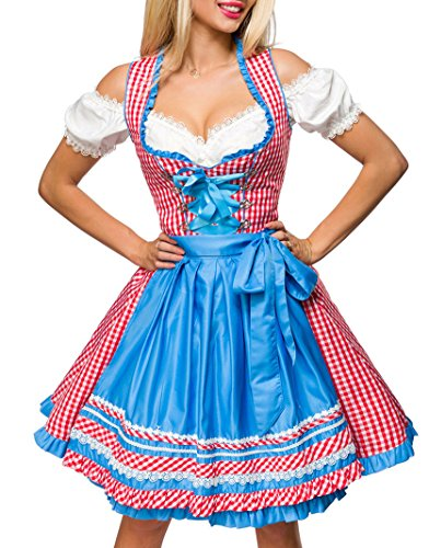 Blau Schürze Kostüm - Dirndl Kleid Kostüm mit Herzausschnitt Schleife Schnürung und Schürze aus kariertem Stoff und Spitze Oktoberfest Dirndl blau/rot/weiß M