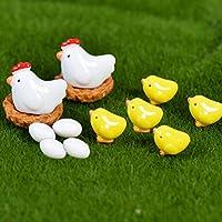 AOWA Mini Chicken Fairy Garden Miniatures Gnomes Moss Terrariums Resin Figurines For for Fairy Garden Plant Decor