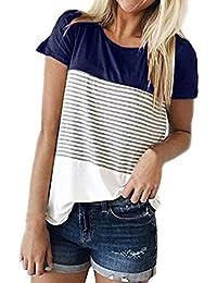 c43952f2de6 MRULIC Women Summer Short Sleeve Triple Color Block Stripe T-Shirt Casual  Blouse