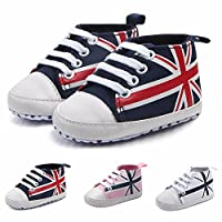HUHU833 Toddler Boot, Union Jack Flag Print Canvas Anti-Slip Soft Shoes