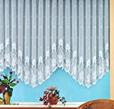 Bogen-Store Mara, Jacquard mit Kräuselband, halbtransparent, Farbe weiß Größe HxB 145x900 cm