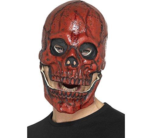 Red Der Skull Kostüm - Smiffys Herren Blutiger Totenkopf Maske mit beweglichem Kiefer, Ganzer Kopf, One Size, Rot, 48113