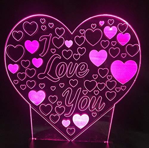 3D Optical Illusion Lampe Led Nachtlicht 3D Ich Liebe Dich Liebe Herz Led Birne Schreibtisch Lampe Bunten Urlaub Blitz Usb Nachtlicht Controller Taschenlampen Dekorationen Für Hausbar