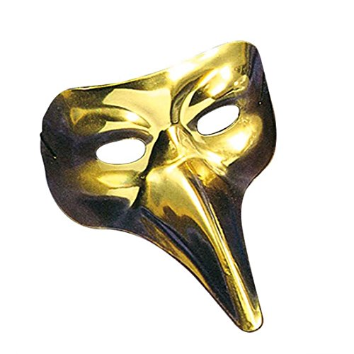 NET TOYS Lange Nase Venezianermaske Edle Schnabelmaske gold Schwarze Pest Venedigmaske Pantalone Rabenmaske Venezianische Maske Vogel Halbmaske (Venezianische Nase Lange Maske)