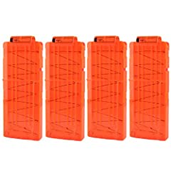 Idea Regalo - TXXCI Pallottola Morbido Clip 12-freccette rapida Ricarica clip Caricatore per Nerf N-Strike Serie Elite -Trasparente Arancione 4 Pezzi