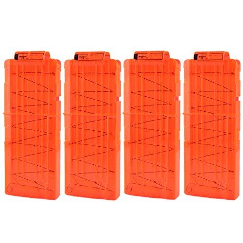 Chargeur, WOLFBUSH 4pcs Cartouchières à 12 Balles Souples Recharge Rapide pour une Serie de Jouet de Pistolet Nerf N-STRIKE ELITE - Orange Transparente