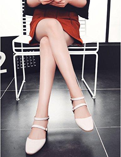 HWF Chaussures femme Shallow Mouth Sandales Femme Printemps Eté Tête Carrée Chaussures à talons hauts Souliers simples de femme ( Couleur : Vin rouge , taille : 40 ) Beige