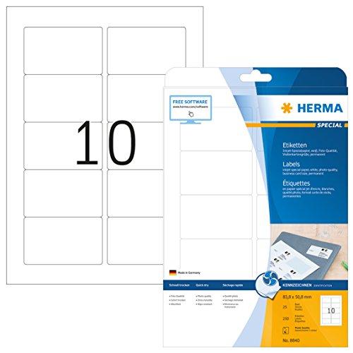 Herma 8840 Tintenstrahldrucker Etiketten Foto-Qualität (83,8 x 50,8 mm, DIN A4 Papier) weiß, 250...