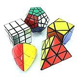 MZStech Cubo Magico Puzzle Set aus Pyraminx, Meganminx, Skewb, Mastermorphix, 3x3 Spiegelwürfel - 5er Pack