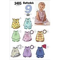 Butterick 3405/NB - Patrón de costura para confeccionar vestido de niña (8 modelos diferentes, tallas muy pequeña, pequeña y mediana)