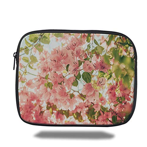 Laptop Sleeve Case,Spring,Bougainvillea Flowers Branches in Sunny Summer Blossoms Nature Park View,Light Pink Olive Green,Tablet Bag for Ipad air 2/3/4/mini 9.7 inch -