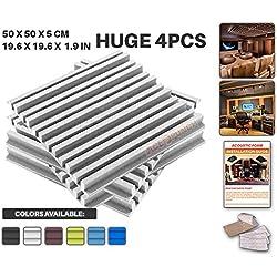 Ace Punch 4 Pezzi Metro a Strisce Schiuma Acustica Pannello Isolamento Acustico Diffusore Acustici Parete Fai da te con Free Montaggio Schede 50 x 50 x 5 cm Bianco Perla AP1041