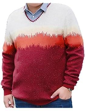 Los Hombres De Gran Tamaño De La Ropa De Manga Larga De Cuello En V Sweater Suéter De Otoño E Invierno Camiseta...