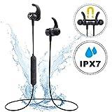 Mpow S10, Auriculares Bluetooth magnéticos IPX7 deportivos Manos Libres con Micrófono, Auriculares Bluetooth 4.1 In-ear Cascos Inalámbricos Running Deporte Correr Cancelación de Ruido CVC 6.0 para iPhone 8 / 8Plus, X, 7 Plus, 6s, 6s Plus, 6, 6 Plus, Samsung, Huawei, Sony (Negro Nuevo)