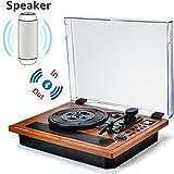 Plattenspieler Schallplattenspieler Bluetooth Turntable Vinyl Spieler HIFI Riemenantrieb with mit eingebauten Stereo Lautsprechern und Vinyl-To-MP3 Funktion SD USB 33/45/78 U/min  im klassischem Design