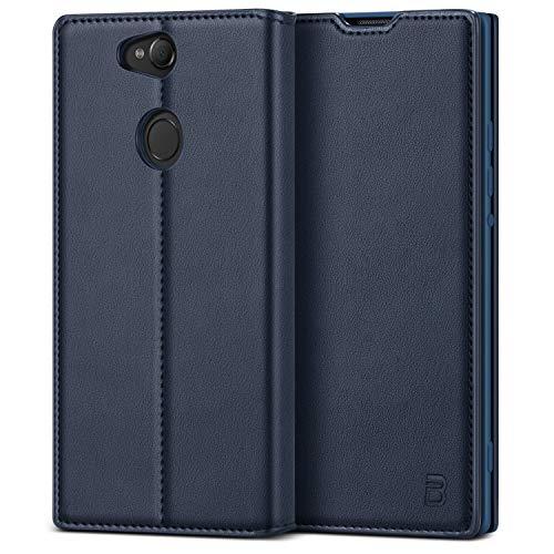 BEZ® Handyhülle für Sony Xperia XA2 Hülle, Tasche Kompatibel für Sony Xperia XA2, Schutzhüllen aus Klappetui mit Kreditkartenhaltern, Ständer, Magnetverschluss, Blau Marine Sony-schutzhülle