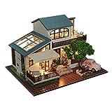 Jo332Bertram Puppenhaus, DIY Handgefertigt Dollhouse Modell Set mit LED Licht, Mini Holz Basteln Haus Bausatz Kreatives Geschenk Kinder und Erwachsener