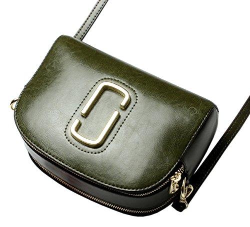 SAIERLONG Nuovo Donna Grigio Vera Pelle Borse Crossbody Sacchetti di spalla Verde scuro