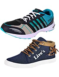 BRUTON COMBO Pack Of 2 Pair Of Shoes Brown & Blue (Sport Shoes & Sneakers Shoes)