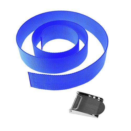MagiDeal Tauchgewicht Gürtel Bleigurt / Gewichtsgürtel 1,5m zum Tauchen (Blau) + Edelstahl Gürtelschnalle Gürtelschliesse als Tauchen Bleigürtel Schnalle Quick-Release