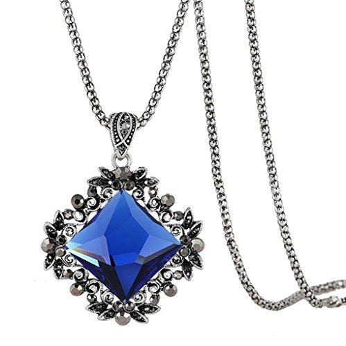 Epinki Collana Donna, Acciaio Inossidabile, Cristallo Swarovski Elements, Piazza Fiore Foglie Argento Blu 80CM