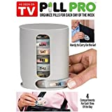 AVMART Pill-Pro Organizer With 7 Single Box And 4 Daily Compartments (Multicolour)
