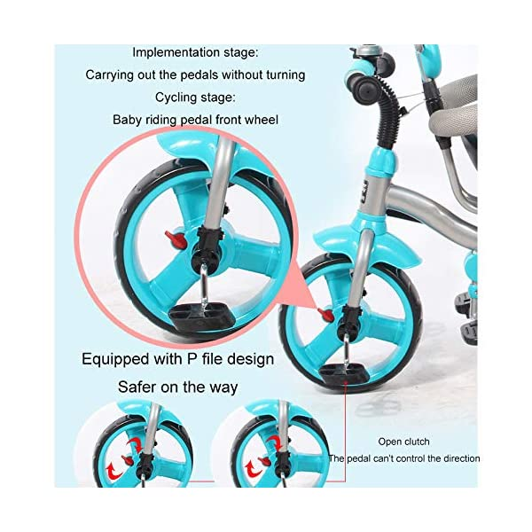 BGHKFF 4 In 1 Children's Hand Push Tricycle 10 Months To 6 Years 360° Swivelling Saddle Children's Pedal Tricycle Folding Sun Canopy Adjustable Handle Bar Child Trike Maximum Weight 25 Kg,Blue  ★Material: High carbon steel frame, suitable for children from 10 months to 6 years old, the maximum weight is 25 kg ★ 4 in 1 multi-function: can be converted into a stroller and a tricycle. Remove the hand putter and awning, and the guardrail as a tricycle. ★Safety design: golden triangle structure, safe and stable; front wheel clutch, will not hit the baby's foot; guardrail; rear wheel double brake 6