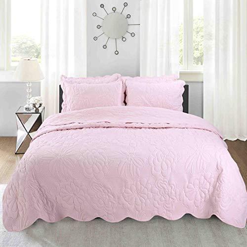 Rose Bettdecke (Amerikanische gesteppte Bettbezug, 4-teiliges Set, Ultraschall-Prägung, Tagesdecke, gewaschene Decke, Kissenbezüge, 220 x 240 cm Modern B rose)