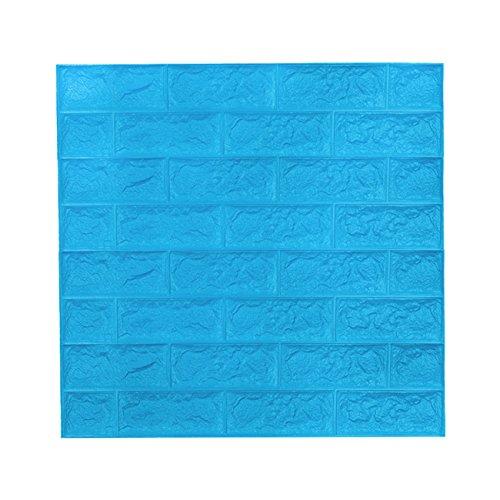 5 Stüc 3D Ziegel Tapete, Wandaufkleber Stereo Wandtattoo Papier Abnehmbare selbstklebend Tapete für Schlafzimmer Wohnzimmer moderne Hintergrund TV-Decor 60x60cm (Blau 5 Stück)
