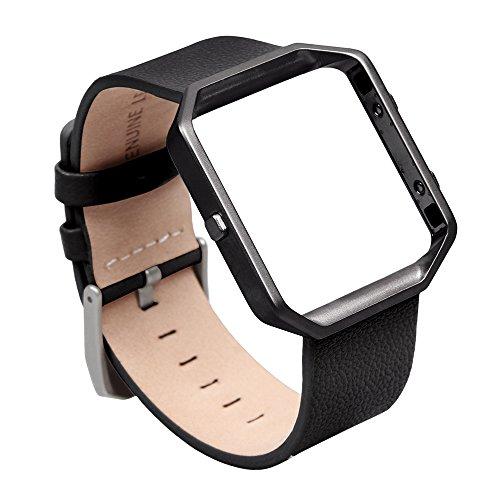 V-MORO Cinturino per Fitbit Blaze, pelle morbida, cinturino in vera pelle con polsino apribile e regolabile e scocca in metallo per Fitbit Blaze Smart Fitness Watch (Pelle nero&Cornice metallica nero, Piccola)