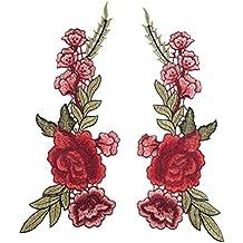 OULII Bordado Rosa Floral Costura Patch Scrapbooking grabado en relieve para DIY Craft Collar busto vestido paquete Pack 2pcs