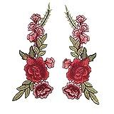 OULII Parches Bordados Collar de Flores Coser Parches DIY Etiqueta de Apliques 2pcs (Rojo)
