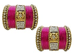 My Design Floral Gold Plated Bridal Chura Rani Wedding Chuda Bangles (size-2.4)