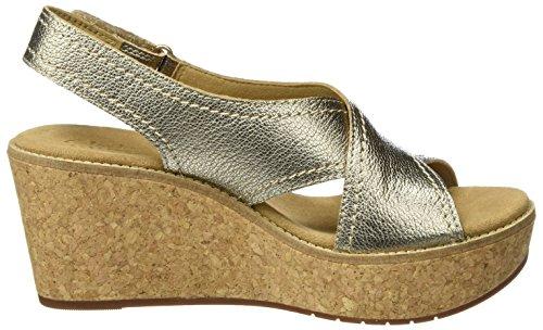 Clarks Aisley Tulip, Sandales Bout Ouvert Femme Multicolore (Gold Metallic)