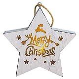 Mitlfuny Weihnachten Home TüR Dekoration,Weihnachten leuchtende kreative Weihnachtsbaum Hangings Holzhaus Anhänger Dekor