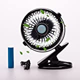 Rechargeable Battery Operated Clip on Mini Desk Fan, Stroller Fan with USB Charging Cable,Table Fan for Home/Office (Black)