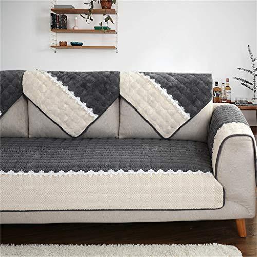 Divano asciugamano, divano cuscino tessuto inverno antiscivolo peluche moderno minimalista soggiorno divano copertura del tovagliolo (colore : grigio scuro, dimensioni : 110 * 180cm(43 * 71inch))