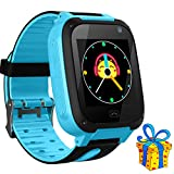 Jaybest Kinder Smartwatch LBS Telefon Uhr,Touch LCD Kid Smart Watch für Jungen Mädchen mit SOS Anruf Kamera Anti-Lost Voice Chat (S4-Blau)