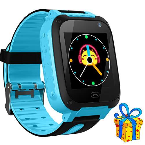 Jaybest Kinder Smartwatch LBS Telefon Uhr,Touch LCD Kid Smart Watch für Jungen Mädchen mit SOS Anruf Kamera Anti-Lost Voice Chat (S4-Blau) - Jungen-bereich