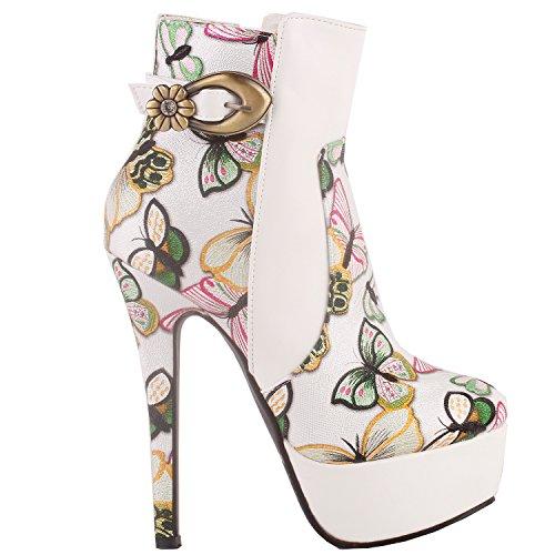Show Story Voir l'établissement histoire élégante blanc multicolore brodé boucle papillon plate-forme Stiletto Bottine Bottine boot, LF80864