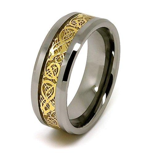 8 mm, placcati in oro con dragone celtico-anello in tungsteno, con fascia intarsiata, z 3