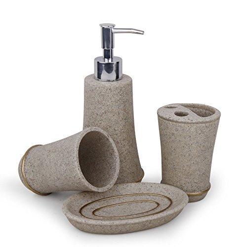 Juego de accesorios de bano - TOOGOO(R)4 piezas conjunto de accesorios de bano articulos de aseo personal: jabonera, dispensador de liquido, cepillos de dientes, vaso, beis-agrisado
