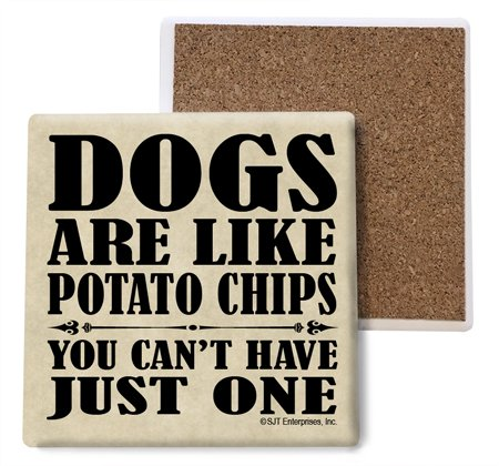 (sjt04007) Hunde Sind Wie Kartoffel-Chips, Sie Can 't have Just One saugfähig Stein Untersetzer, 4-Zoll (4er Pack)