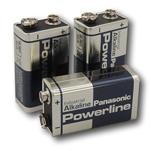 4Panasonic Powerline 9V PP3Block 6LR61MN1604Batterie Industrial Alkaline Batterien Panasonic Industrial Alkaline