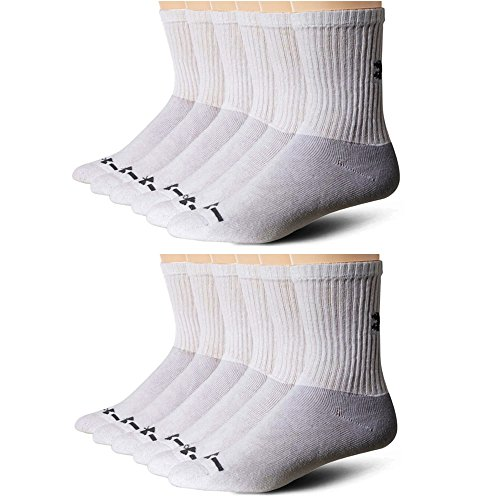 Under Armour Men's Charged Cotton Crew Socks-6 Pairs 2 pck Large, White)