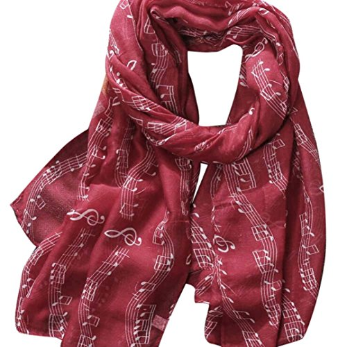 Schals Damen, ABsolute Frauen Große Lange Voile Baumwolle Schals Hinweis Drucken Weiche Schals Foulard Wraps (180*90CM, Rot) (Strass Neue Womens)