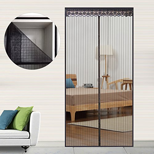 Nclon Magnet fliegengitter Tür Klebemontage,Full-Frame Fliegenvorhang moskitonetz magnetvorhang Zum insektenschutz Automatisches Schließen-Schwarz 210x85cm(83x33inch)