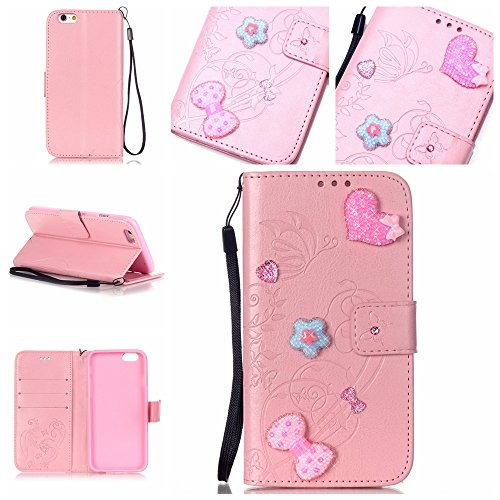 iPhone 6 6S Hülle,iPhone 6 6S Case,Cozy Hut ® Ultra Slim Flip Lederhülle / Ledertasche / Hülle / Case / Cover / Etui / Tasche für iPhone 6 6S (4,7 Zoll) / 3D Diamant Strass Bling Glitzer Schmetterling rosa